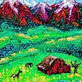 Pastoral scene on tiny canvas