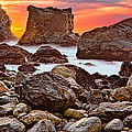 Patrick's Point Sunset Seastacks by Greg Nyquist
