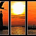 Peaceful Sunset Triptych Series by Michael Frank Jr