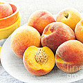 Peaches On Plate by Elena Elisseeva