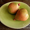 Pears On Heart Plate by Lainie Wrightson