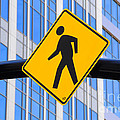 Pedestrian Crosswalk Sign In Business District by Gary Whitton