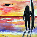 Pelican And The Surfer Girl by Diane Wigstone