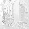 Pencil Sketch Look Girl Riding Motorcycle Bike Rider Speed Stone Paved Street In Nafplion Greec by John Shiron