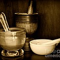 Pharmacy - Mortars And Pestles - Black And White by Paul Ward