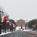 Philadelphia Parkway In The Snow by Bill Cannon