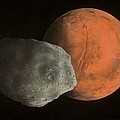 Phobos And Mars, Artwork by Richard Bizley