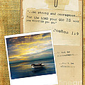 Photo Of Boat On The Sea With Bible Verse by Jill Battaglia