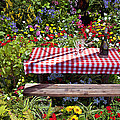 Picnic Table Among The Flowers by Garry Gay