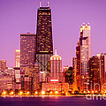 Picture Of Chicago Skyline By Night by Paul Velgos