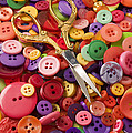 Pile Of Buttons With Scissors  by Garry Gay