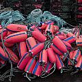 Pile of Pink and Blue Buoys by Carol Leigh