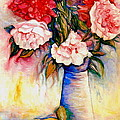 Pink And Red Peony Roses In A Tall Blue Porcelain Vase by Carole Spandau