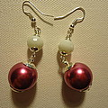 Pink And White Ball Drop Earrings by Jenna Green