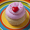 Pink Cupcake With Red Heart by Garry Gay