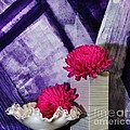Pink Mums On Purple by Marsha Heiken