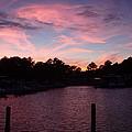 Pink N Blue Sunset On The Chesapeake Bay Va by Sven Migot