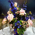 Pink Roses And Purple Delphinium by Susan Savad