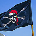 Pirate Flag Skull With Red Scarf by Garry Gay