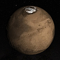 Planet Mars Slightly Tilted To Show by Stocktrek Images