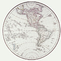 Planispheric Map Of The Western Hemisphere by Fototeca Storica Nazionale