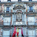 Plaza Mayor Interior Architecture Building With Spanish Flag In Madrid Spain by John Shiron
