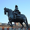 Plaza Mayor Statue Of King Philip IIi Horseman Close Up In Madrid Spain by John Shiron