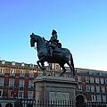 Plaza Mayor Statue Of King Philip IIi Horseman In Madrid Spain by John Shiron