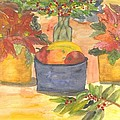 Poinsettias Holly And Table Fruit by Thelma Harcum