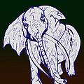 Pointillism Elephant by Mary Mikawoz