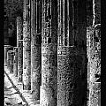 Pompeii Columns Black And White by Mike Nellums
