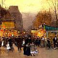 Porte St Martin At Christmas Time In Paris by Luigi Loir