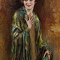 Portrait Of A Girl With A Green Shawl by Isaac Cohen
