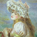 Portrait Of A Young Woman In A Lace Hat by Pierre Auguste  Renoir