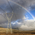 Powerlines, Rainbow Forms As Evening by Colin Monteath