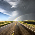 Prairie Hail Storm And Rainbow by Mark Duffy