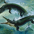 Pre-historic Crocodiles Eating A Fish by Unknown