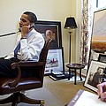 President Barack Obama Takes A Phone by Everett