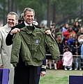 President Bush Displays A Jacket Given by Everett