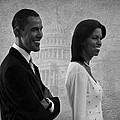 President Obama And First Lady Bw by David Dehner