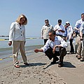 President Obama Inspects A Tar Ball by Everett