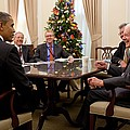 President Obama Talks With Former by Everett
