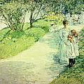 Promenaders In The Garden by Childe Hassam