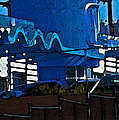 Pueblo Downtown Blue Abstract by Lenore Senior