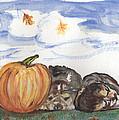 Pumpkin And Puppies by Pamela Wilson