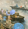 Punts On The Wey At Brooklands by Peter Miller