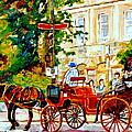 Quebec City Street Scene The Red Caleche by Carole Spandau