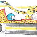 Race Car And Cheetah Cartoon by Mike Jory