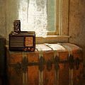 Radio And Camera On Old Trunk by Jill Battaglia
