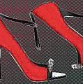 Raging Red Open Toed Stilettos by Elaine Plesser